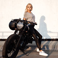 Photo Blonde girl Motorcyclist Legs Girls Motorcycles