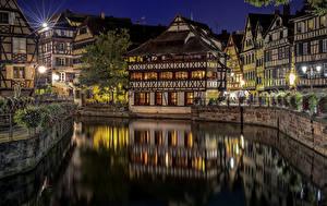 Hintergrundbilder Frankreich Gebäude Straßburg Kanal Nacht