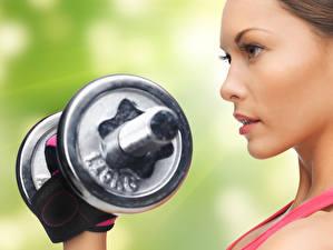 Hintergrundbilder Fitness Hantel Mädchens