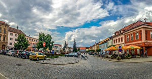 Wallpaper Czech Republic Building Roads Street Clouds Uherske Hradiste Cities