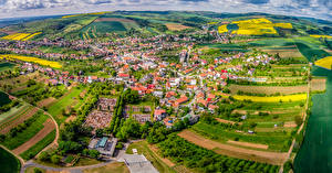 Image Czech Republic Houses Fields From above Borsice Cities
