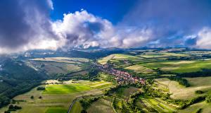 Images Czech Republic Scenery Houses Fields Sky Bystrice Pod Lopenikem Nature