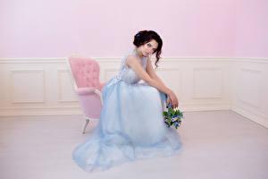 Wallpaper Bouquets Armchair Frock Brunette girl young woman