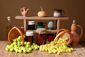 Wallpaper Cherry Pears Jar Wicker basket Bottle Jugs Food
