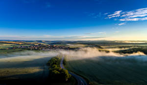 Image Czech Republic Scenery Fields Sky Roads Fog Sucha Loz Nature