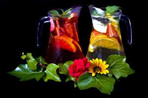 Picture Drink Gerberas Fruit Black background Jugs Foliage Food
