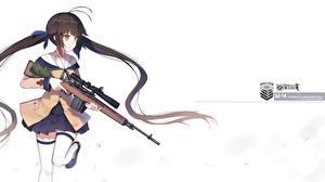 Fonds d'écran Fusil Fusil de précision Fond blanc Écolière yuri shoutu Filles