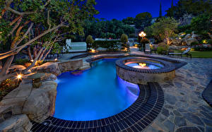 Pictures Parks Swimming bath Night Laguna Hills Nature