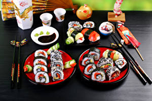 Wallpapers Seafoods Sushi Plate Chopsticks Food