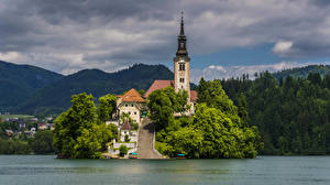 Wallpaper Slovenia Island Lake Temples Stairway Bled Cities