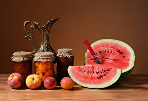 Picture Still-life Watermelons Peaches Knife Jar Jugs Food