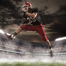 Photo Men American football Uniform Helmet Legs Jump athletic