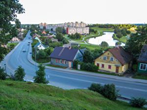 Hintergrundbilder Litauen Gebäude Wege Teich Telsiai