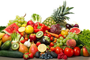 Images Vegetables Fruit Tomatoes Pineapples Grapes Pears Blueberries Strawberry Cucumbers White background