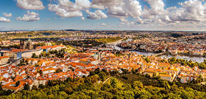 Picture Prague Czech Republic Houses Clouds From above Cities