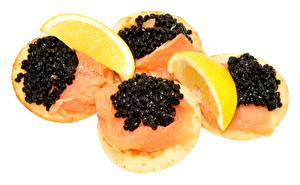 Hintergrundbilder Butterbrot Fische - Lebensmittel Caviar Zitrone Weißer hintergrund Lebensmittel