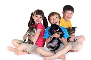 Wallpapers Dog Cats Three 3 Boys Little girls Legs Puppies Smile White background child Animals