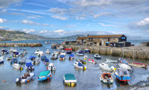 Wallpaper England Berth Rivers Sky Ship Boats Powerboat HDR Clouds Lyme Regis Nature