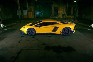 Pictures Lamborghini Side Yellow Aventador LP 750-4 SV Superveloce Novitec Torado automobile