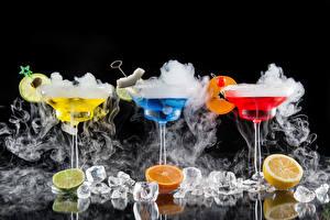 Fotos Getränke Cocktail Zitrusfrüchte Weinglas Drei 3 Eis Rauch Lebensmittel