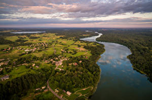 Pictures Landscape photography Lithuania Rivers Fields Forest Building Sky From above Dubingiai Nature