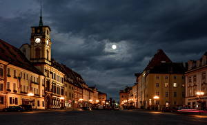 Image Czech Republic Houses Street Night time Street lights Moon Cheb Cities