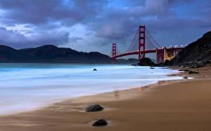 Bilder Küste Brücken USA San Francisco The Golden Gate Bridge Natur