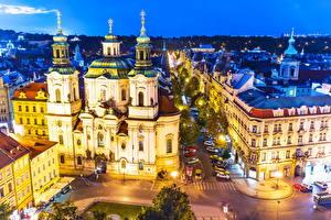 Wallpaper Prague Czech Republic Houses Evening Street Street lights Cities