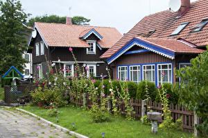 Bakgrunnsbilder Litauen Bygninger Kattostslekta Gjerder Nida Klaipeda en by