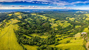 Pictures Czech Republic Scenery Fields Forests Clouds From above Zitkova Nature