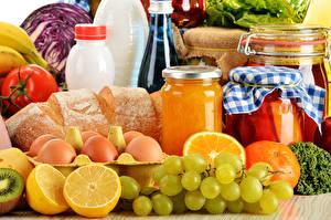 Images Still-life Grapes Citrus Bread Jar Eggs Food
