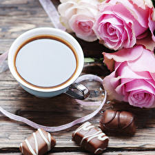 Wallpaper Still-life Coffee Candy Chocolate Roses Cup Food