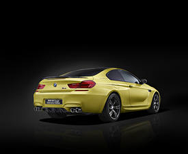 Wallpaper BMW Back view Black background Yellow M6 Coupe Cars