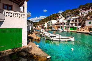 Hintergrundbilder Spanien Gebäude Boot Mallorca Kanal Cala Figuera