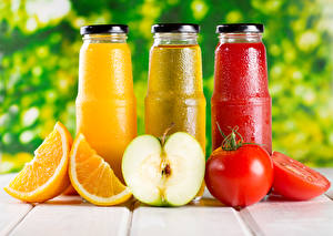 Images Drinks Juice Tomatoes Apples Orange fruit Bottle Three 3 Food