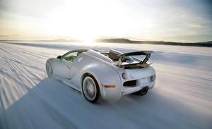 Fotos BUGATTI Hinten Weiß Bewegung Schnee Roadster Veyron Grand Sport Roadster