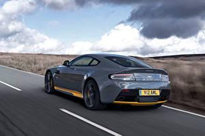 Hintergrundbilder Aston Martin Hinten Bewegung Graues V12 Vantage S Autos
