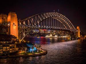 Fotos Australien Brücken Sydney Nacht Straßenlaterne Bucht Harbour