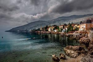Pictures Croatia Houses Mountain Coast Lovran Cities