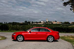 Hintergrundbilder Audi Rot Seitlich Metallisch 2015 A4 2.0 TDI ultra Autos