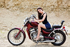 Images Brown haired Motorcyclist Sit Motorcycles Girls