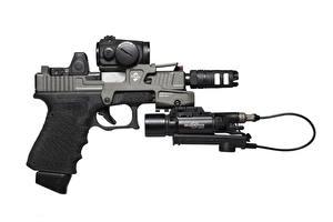 Photo Pistols White background Glock 17 Army