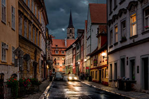 Images Czech Republic Building Street Night Street lights Cheb Cities