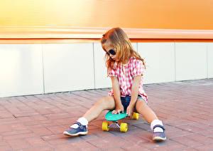 Images Skateboard Little girls Legs Eyeglasses child
