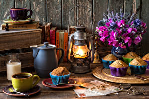 Pictures Still-life Lathyrus odoratus Bouquets Coffee Kerosene lamp Muffin Lamp Cup Jug container Food