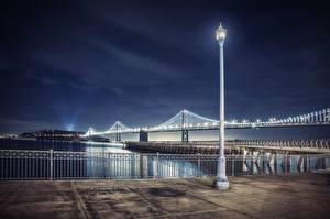 Bilder Brücken Vereinigte Staaten Nacht San Francisco Bay Bridge