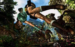 Pictures Tomb Raider Pistol Lara Croft Jump Legs Wearing boots Games 3D_Graphics Girls