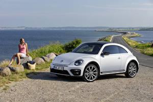 Hintergrundbilder Volkswagen Weiß 2016 Beetle R-Line auto