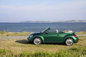 Hintergrundbilder Volkswagen Grün Cabriolet Seitlich 2016 Beetle Cabriolet Autos