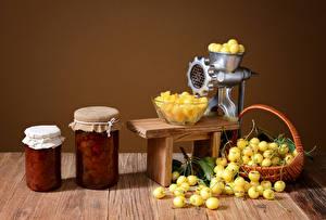 Pictures Cherry Fruit preserves Wicker basket Jar Food